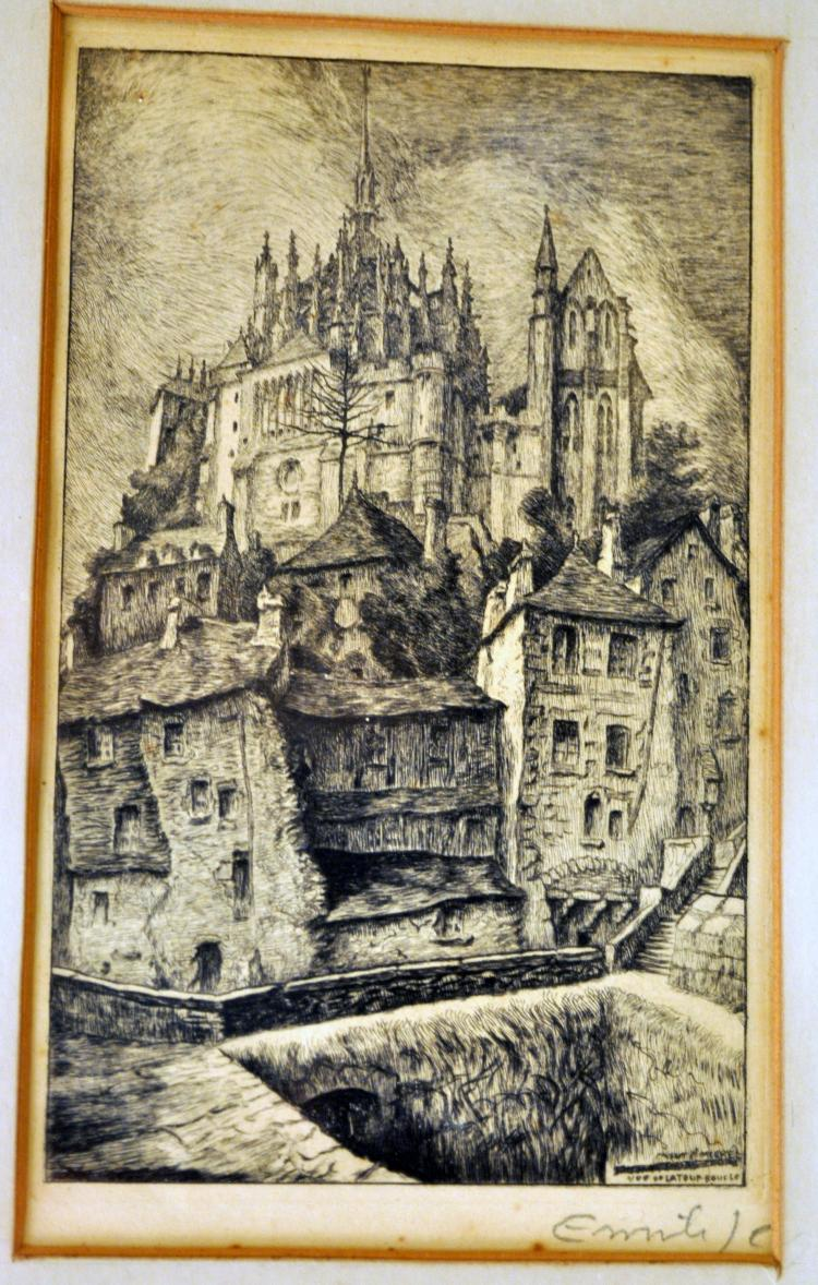 Vintage medieval castle etching framed