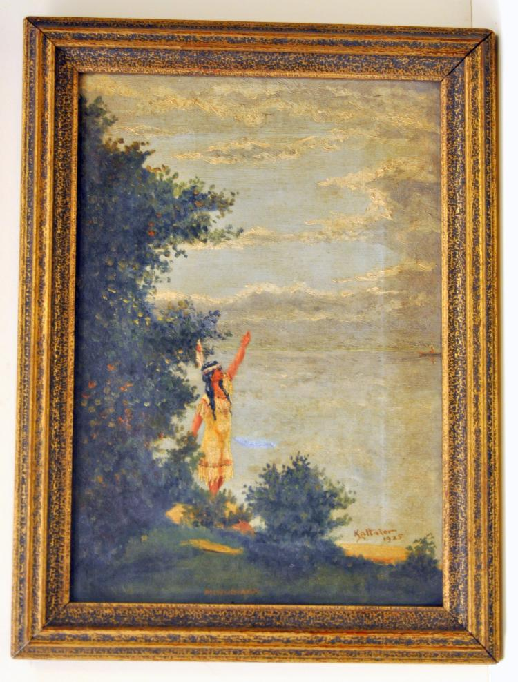 Indian 1925 signed oil on canvas