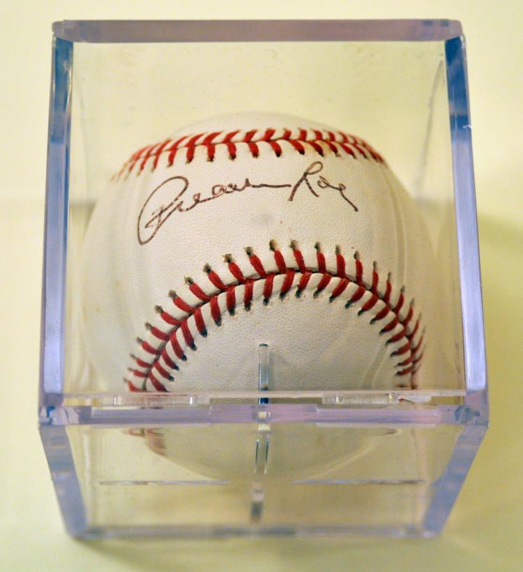 Preacher Roe signed baseball Dodgers