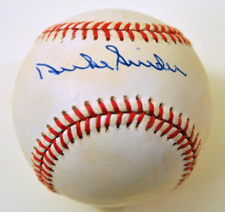 Duke Snider signed baseball Dodgers