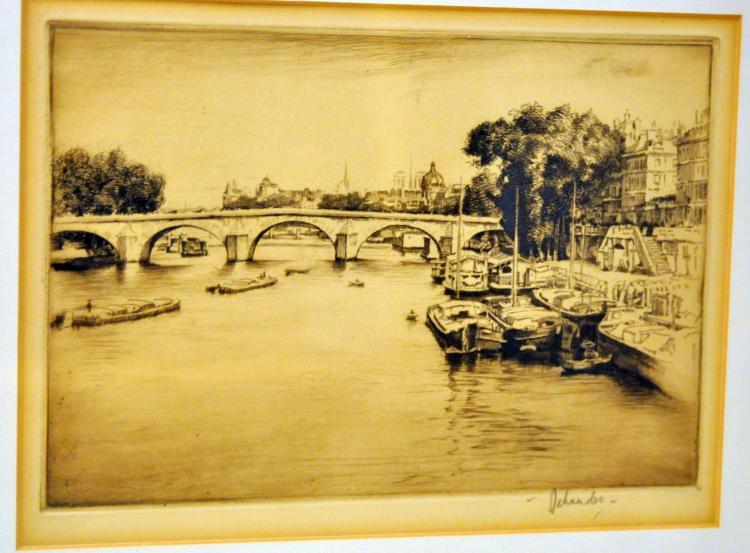 Vintage etching Otto Schneider barges