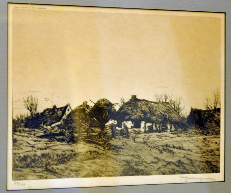Vintage etching cottages signed pencil