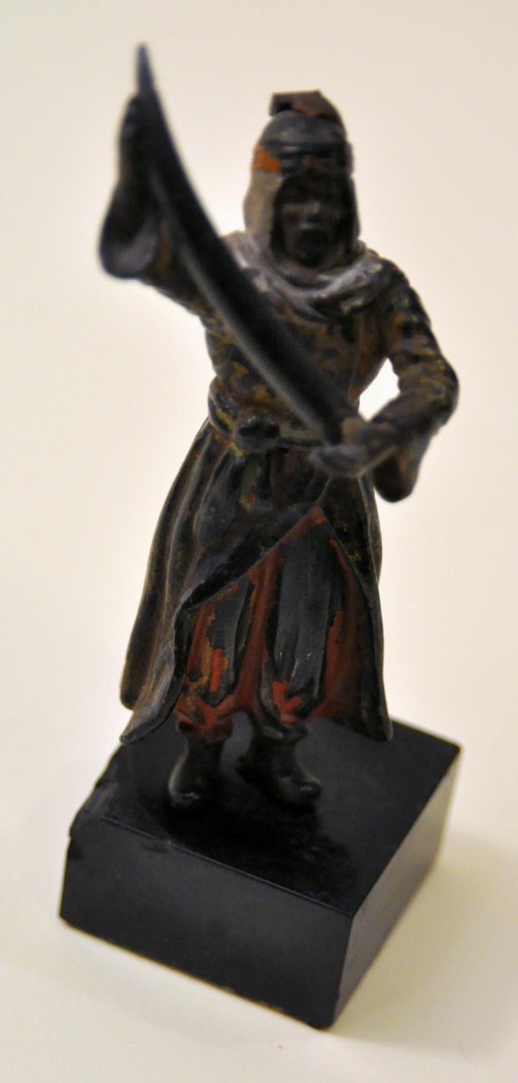 Vintage bronze polychrome warrior statue