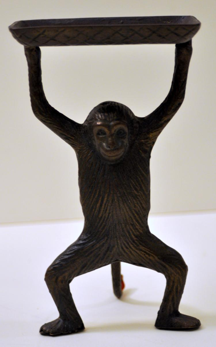 Brass monkey statue holder