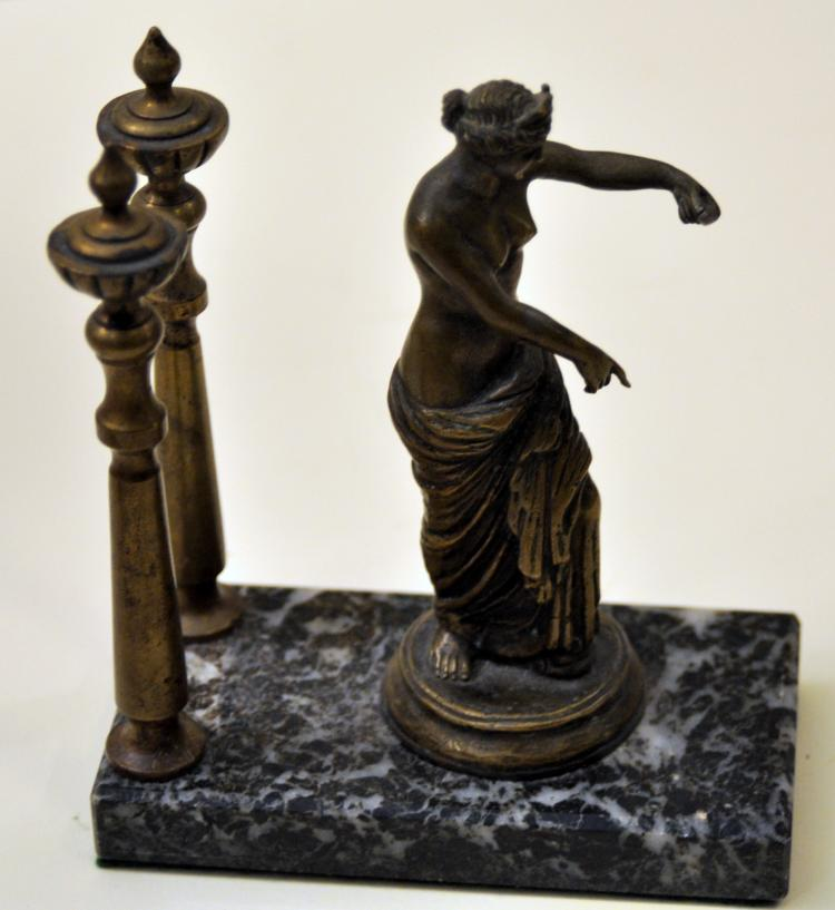 Classical lady bronze marble base