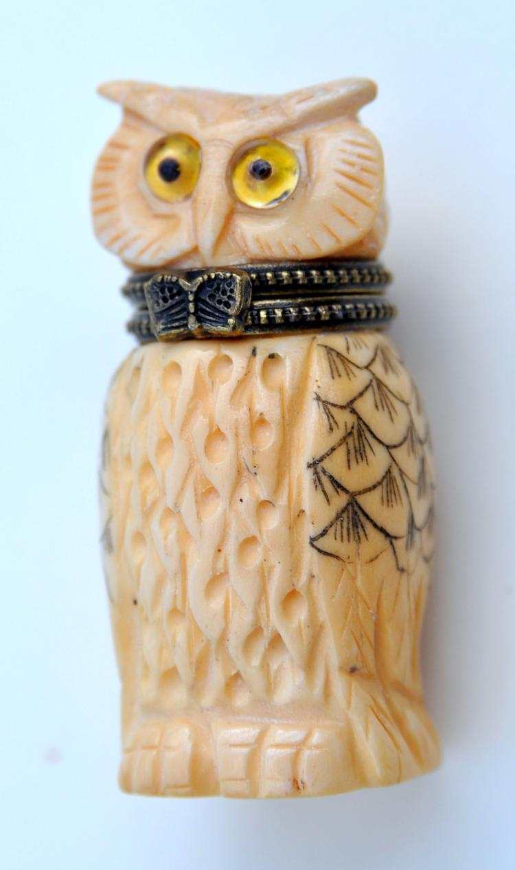 Owl bone carved box