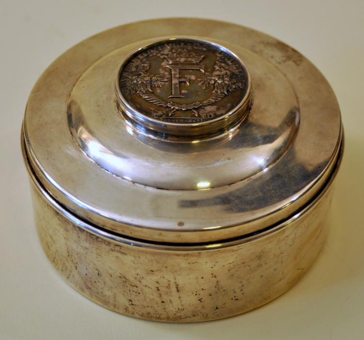 Antique medallion silver box
