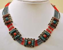 Turquoise coral necklace Indian style