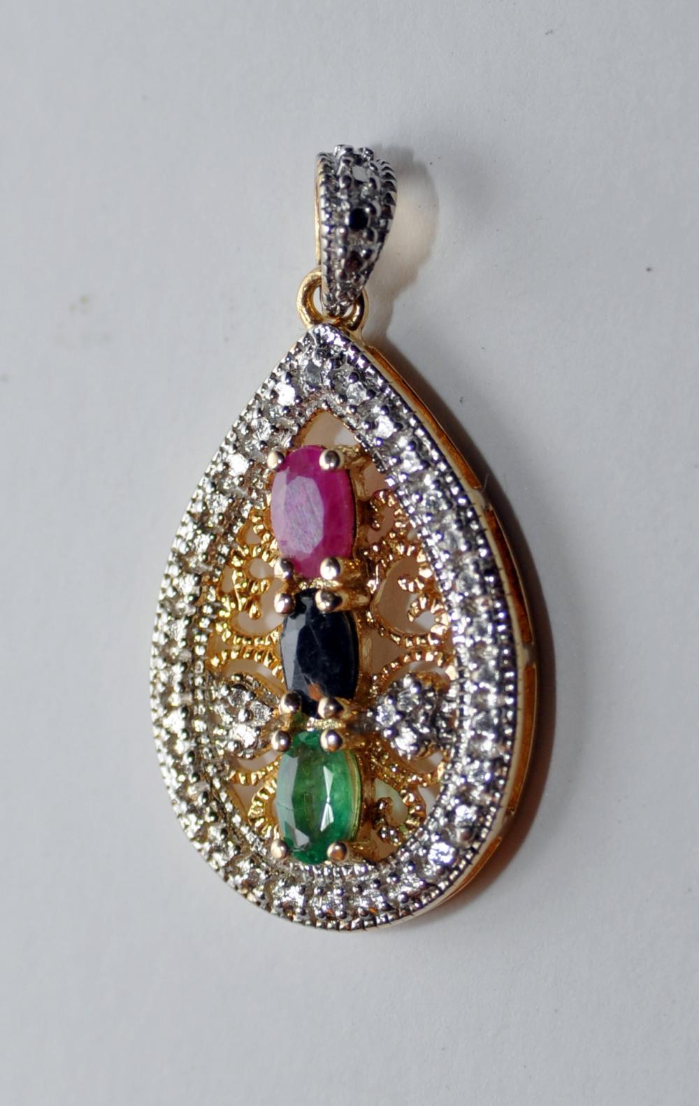 Vermeil ruby, emerald sapphire pendant