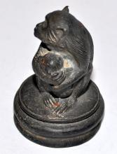Lot 14: Bronze monkey with baby statue