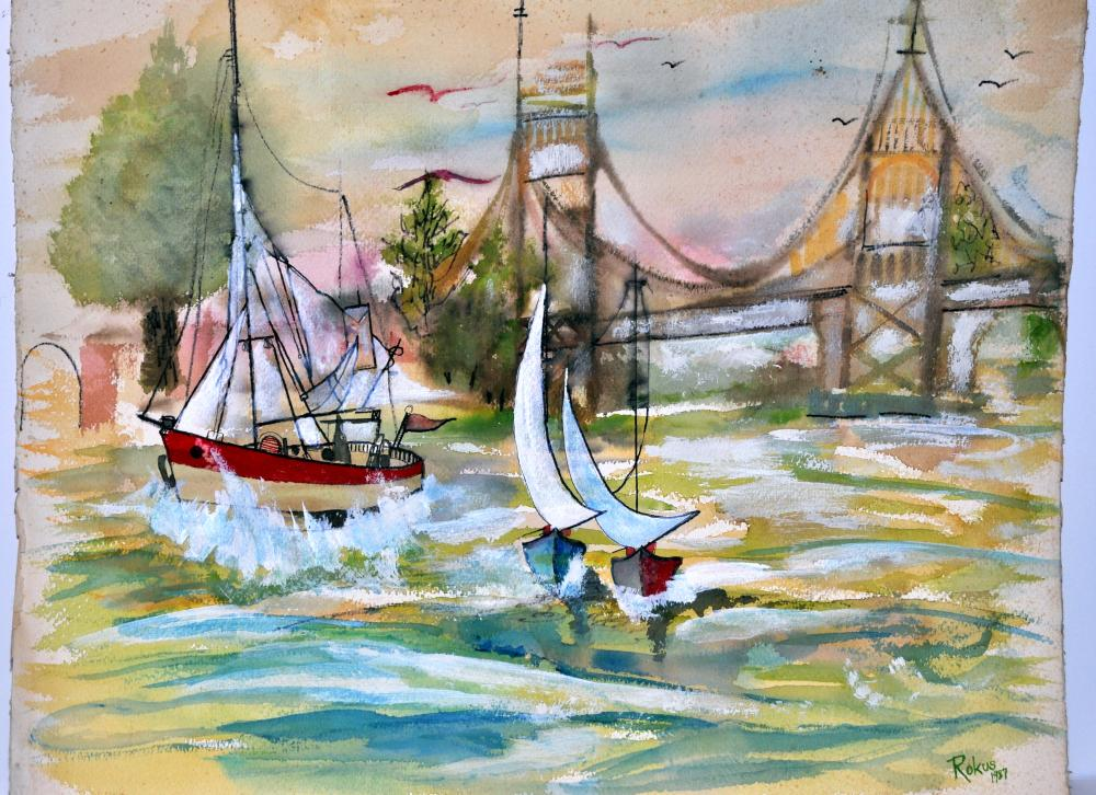 Bernard Rokus signed watercolor nautical