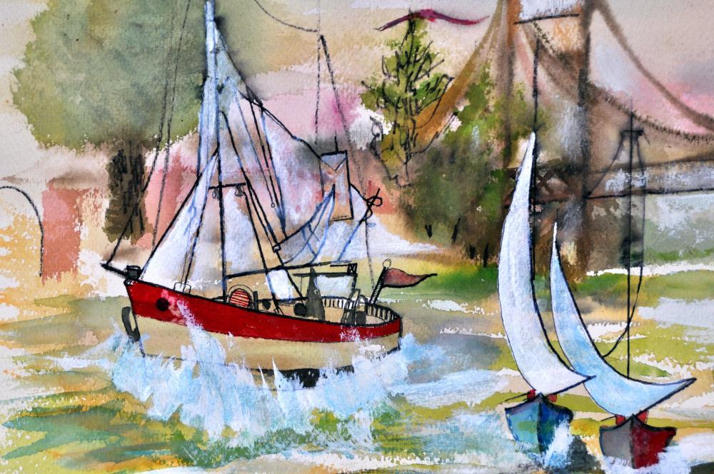 Lot 19: Bernard Rokus signed watercolor nautical