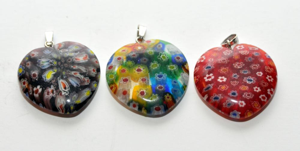 Millefiore heart glass pendants