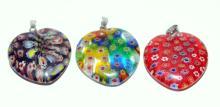 Lot 22: Millefiore heart glass pendants