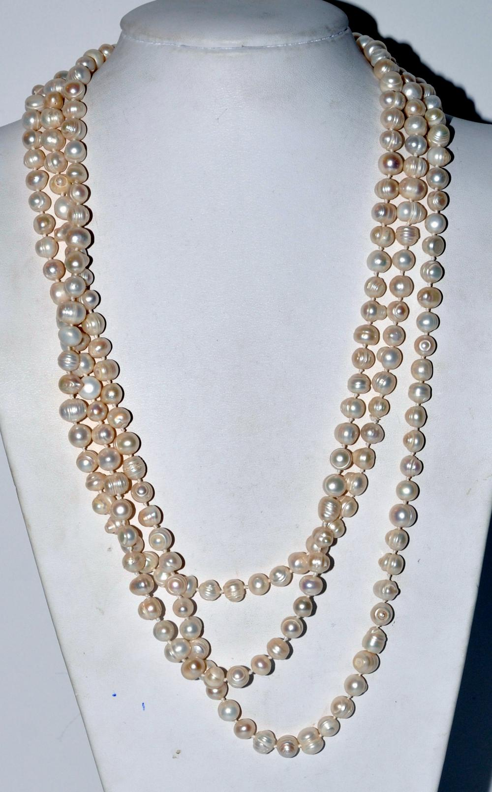 Baroque pearls strand 90 inches long