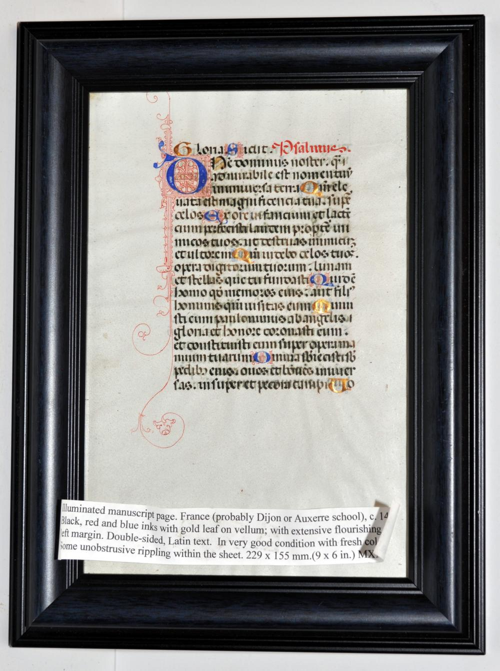 Illuminated manuscript French framed