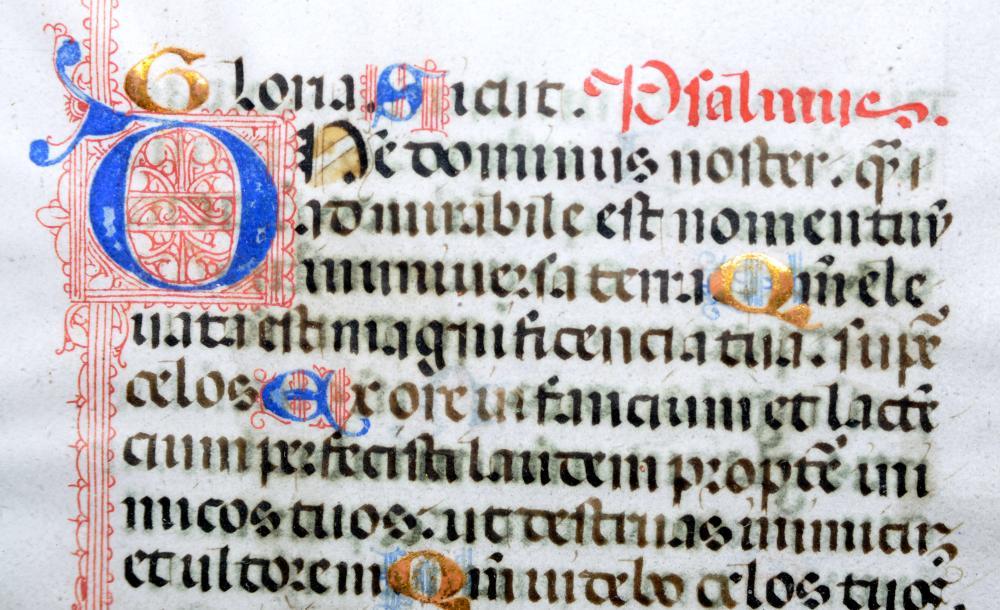 Lot 27: Illuminated manuscript French framed