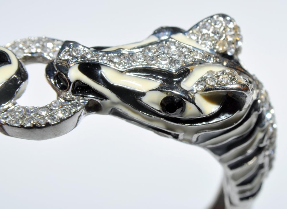 Lot 40: Zebra bracelet vintage costume rhinestone