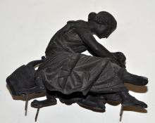 Lot 46: Antique statue scribe w/pen