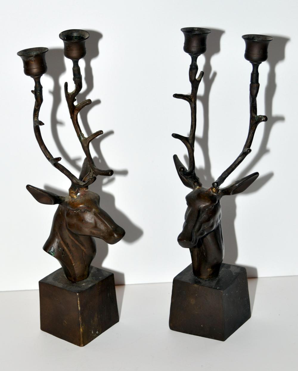 Vintage brass elk candlesticks