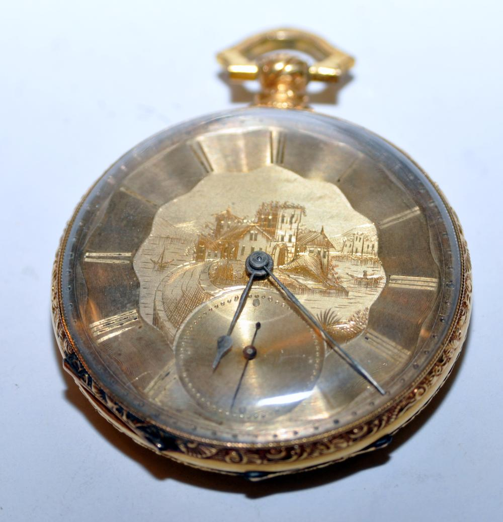 Gold antique pocketwatch M J Tobias