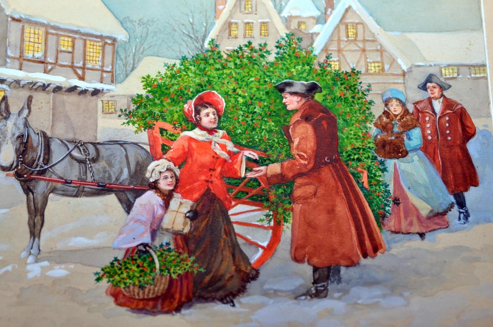 Lot 84: Watercolor winter scene vintage