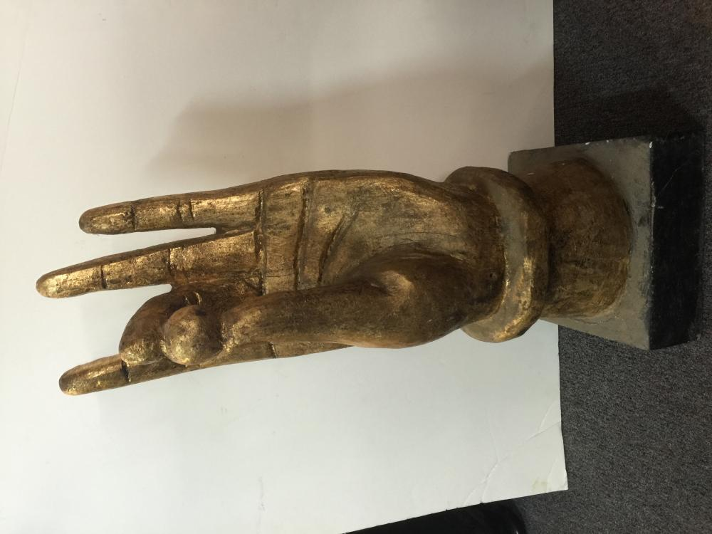 Lot 102: Large wood carved hand