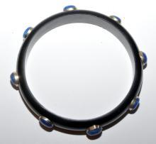 Lot 119: Lapis bangle resin black bracelet