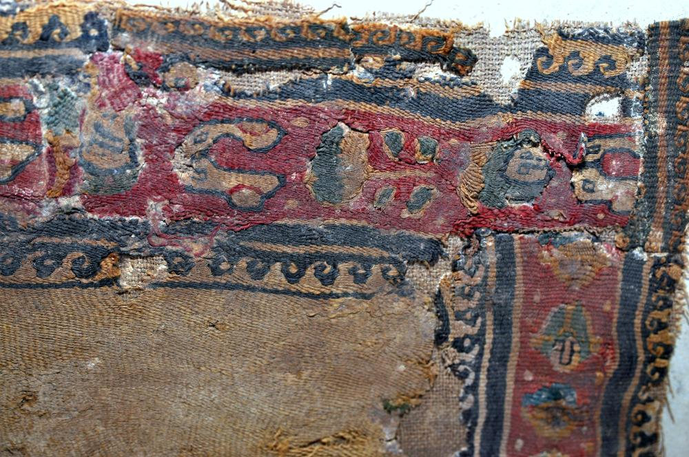 Lot 146: Coptic fabric in red blue colors