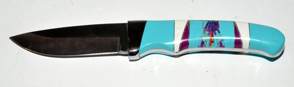 Knife turquoise inlaid American Indian style