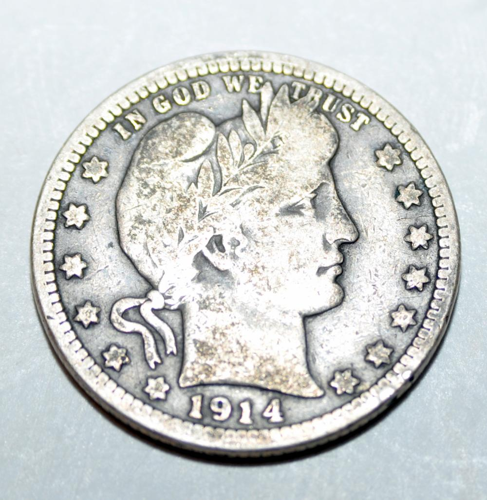 Barber silver quarter coin