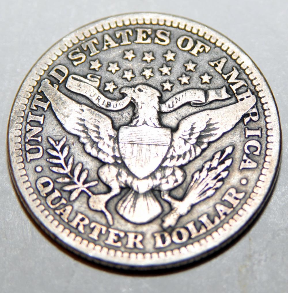 Lot 166: Barber silver quarter coin