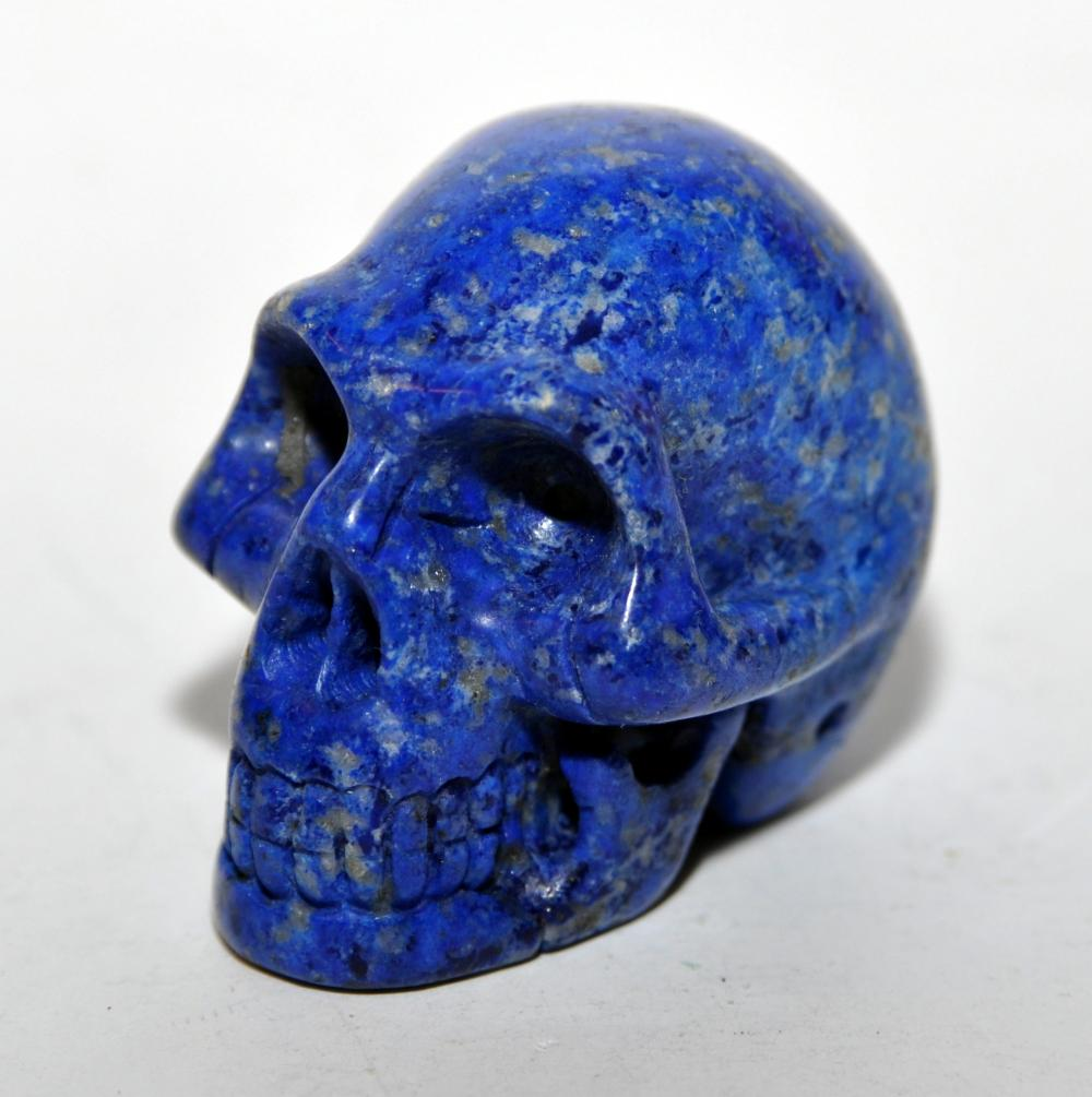 Lapis carved skull dark blue