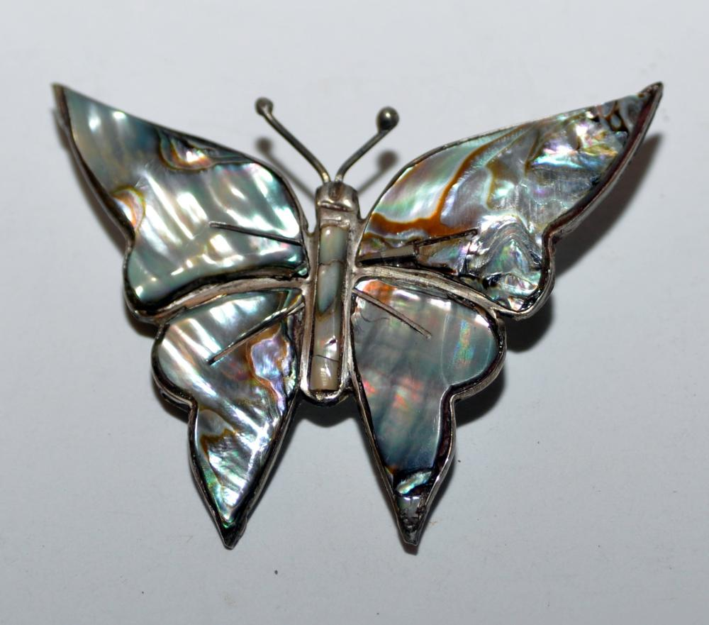 Lot 171: Abalone vintage butterfly pin