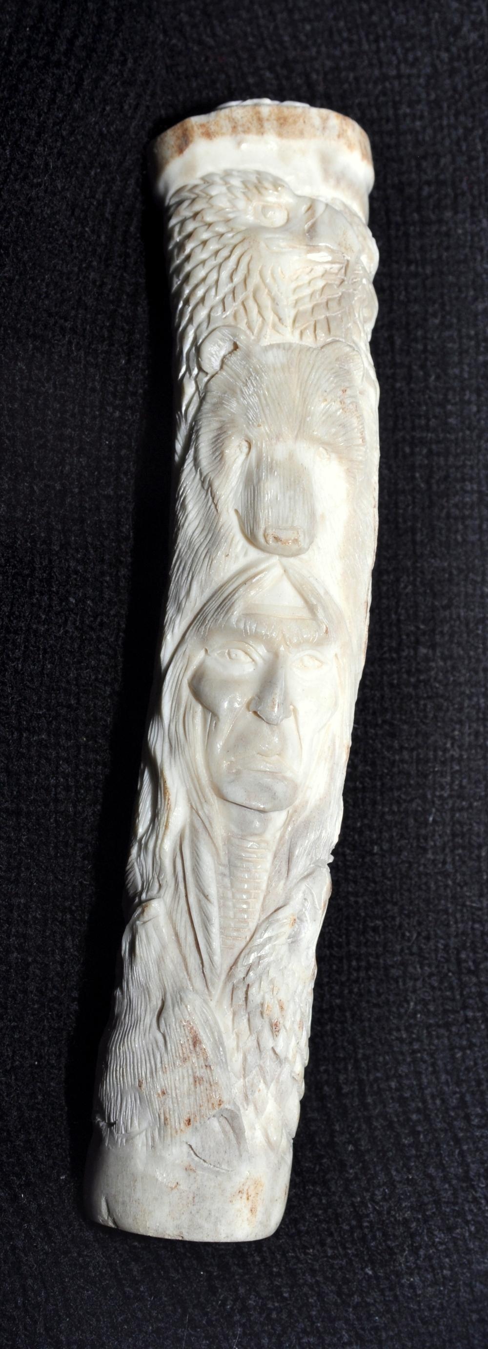 Antler carving American Indian , wolves bears