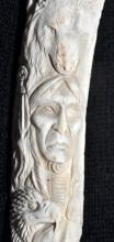 Lot 180: Antler carving American Indian , wolves bears
