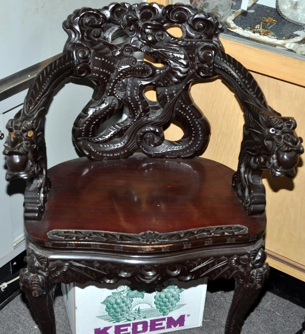 Chinese chair dragon carved rosewood