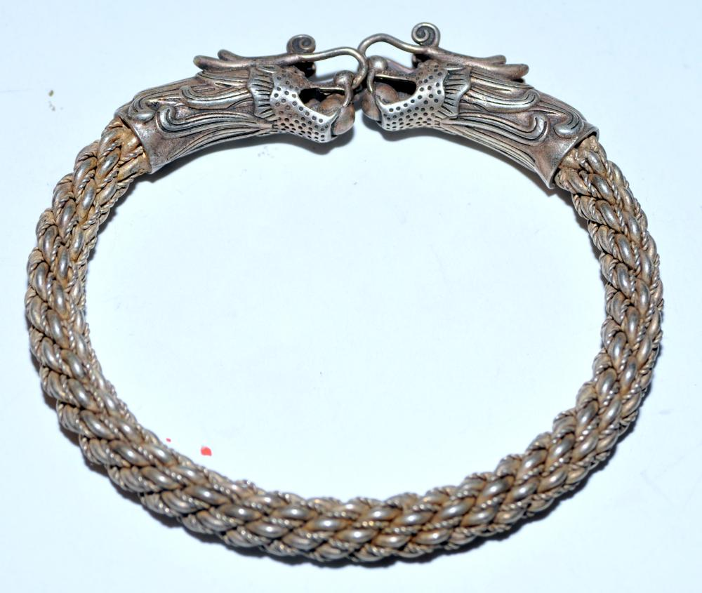 Dragon head bracelet silver color