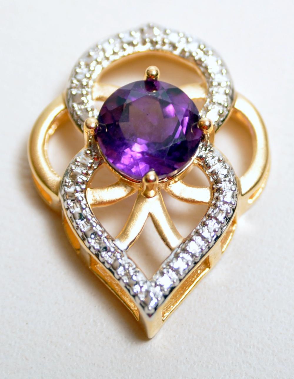 Vermeil amethyst pendant gemstone