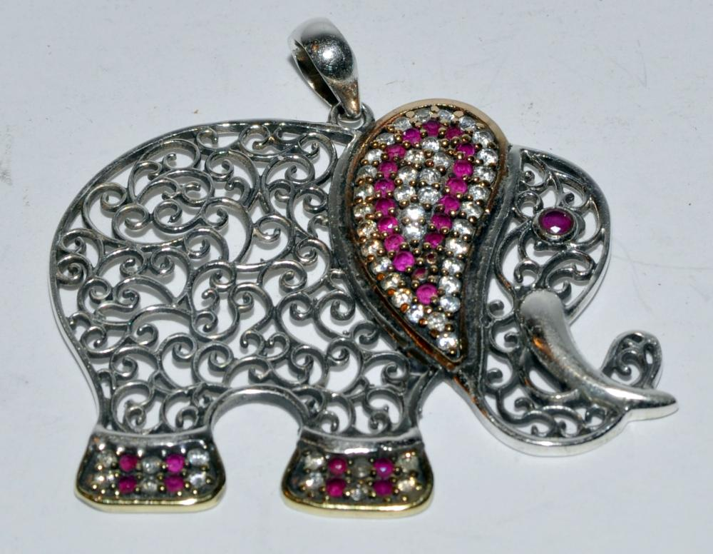 Sterling elephant pendant rubies