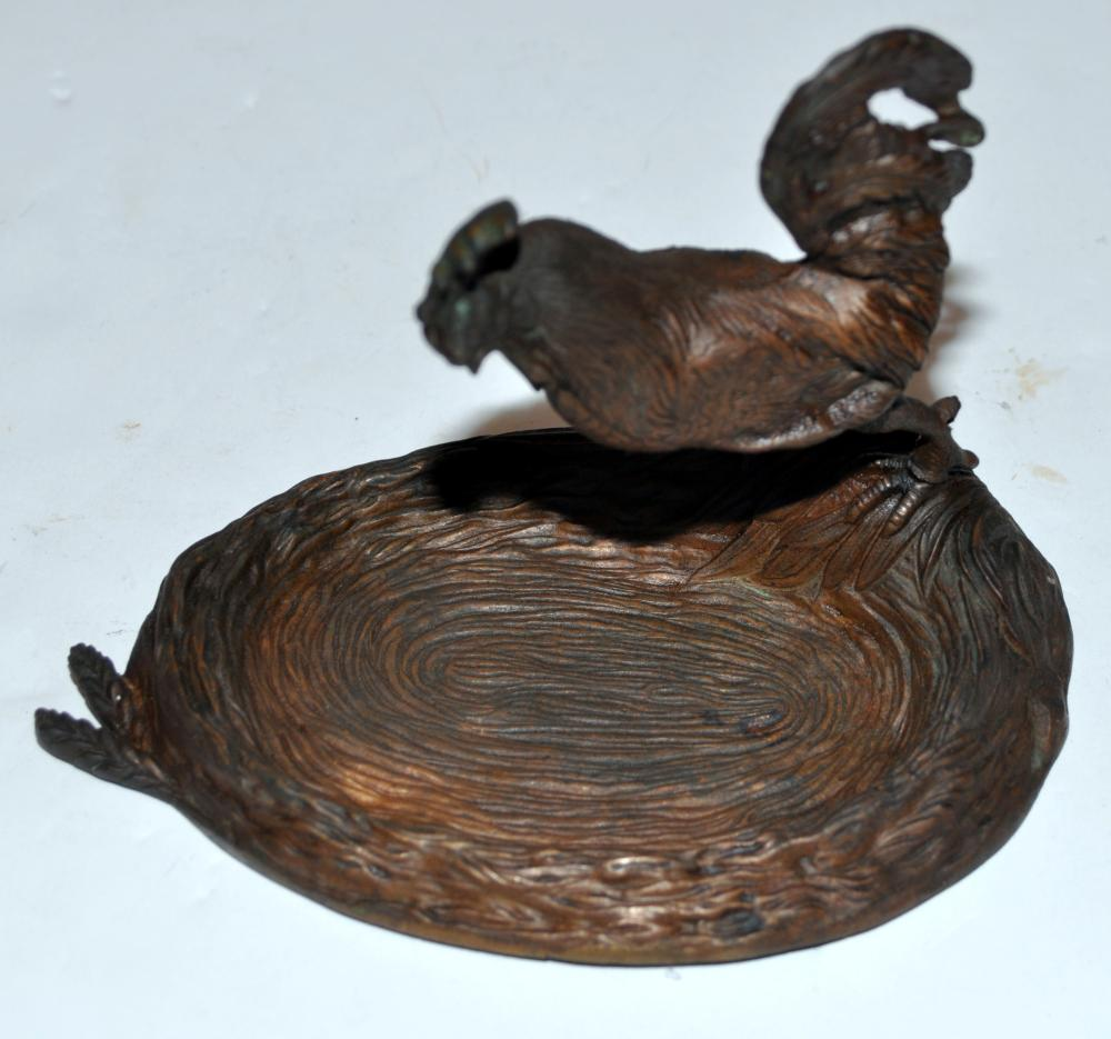 Lot 236: Vintage rooster bronze tray