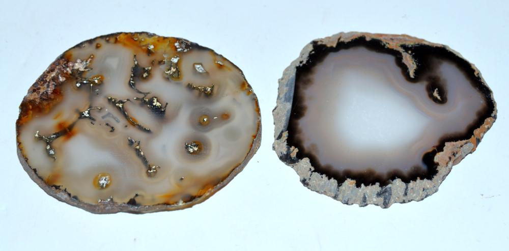 2 agate sliced specimens - 3-4 inch