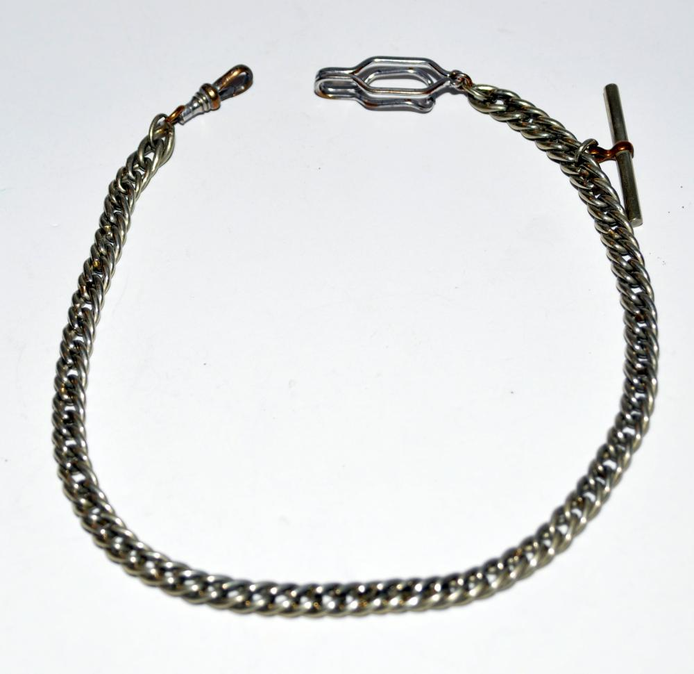Vintage watch chain silver tone
