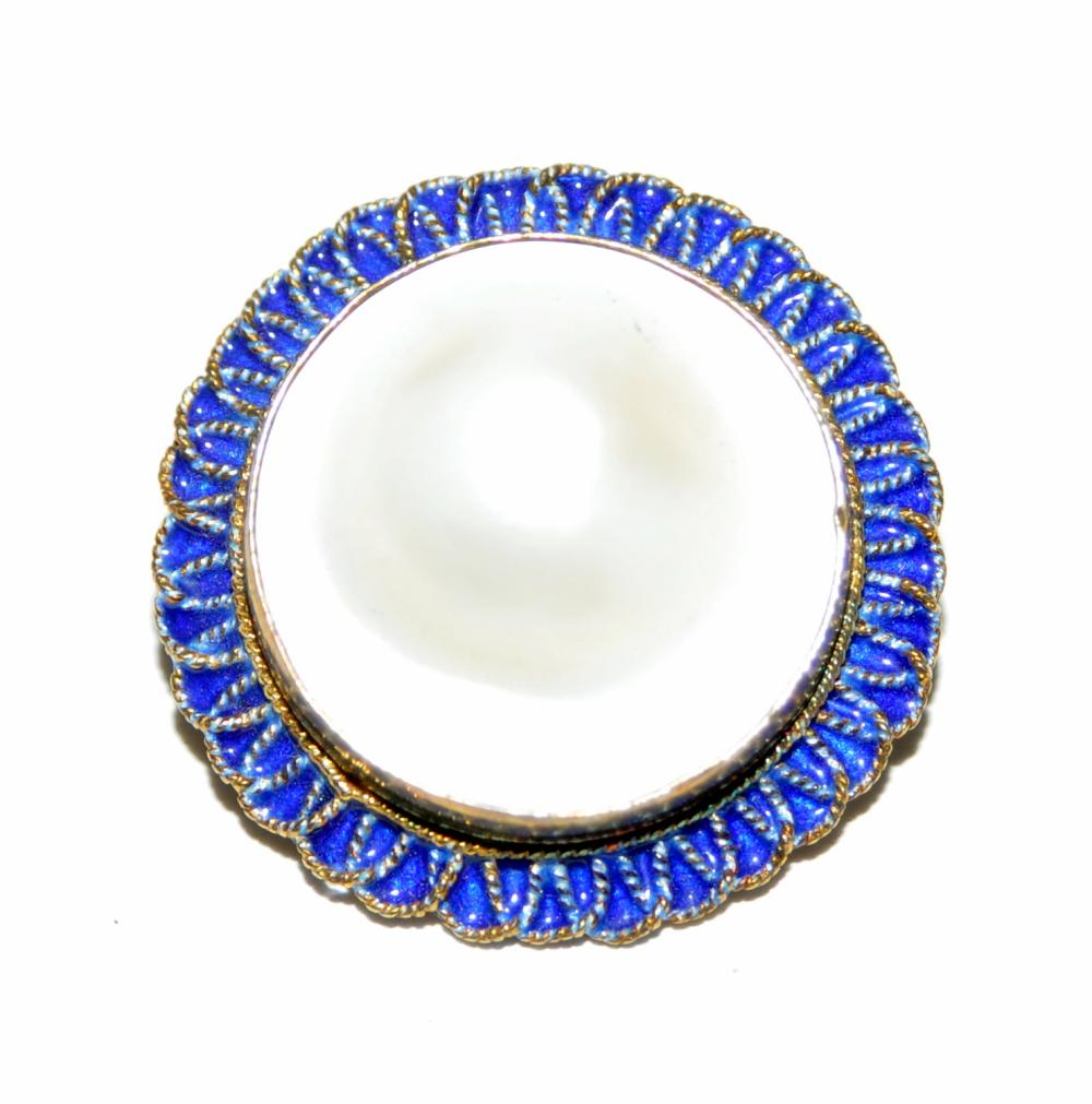 Sterling pearl pendant pin enamelled