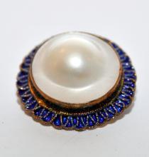 Lot 261: Sterling pearl pendant pin enamelled