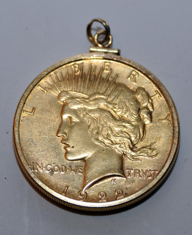 American silver 1922  coin/bezel
