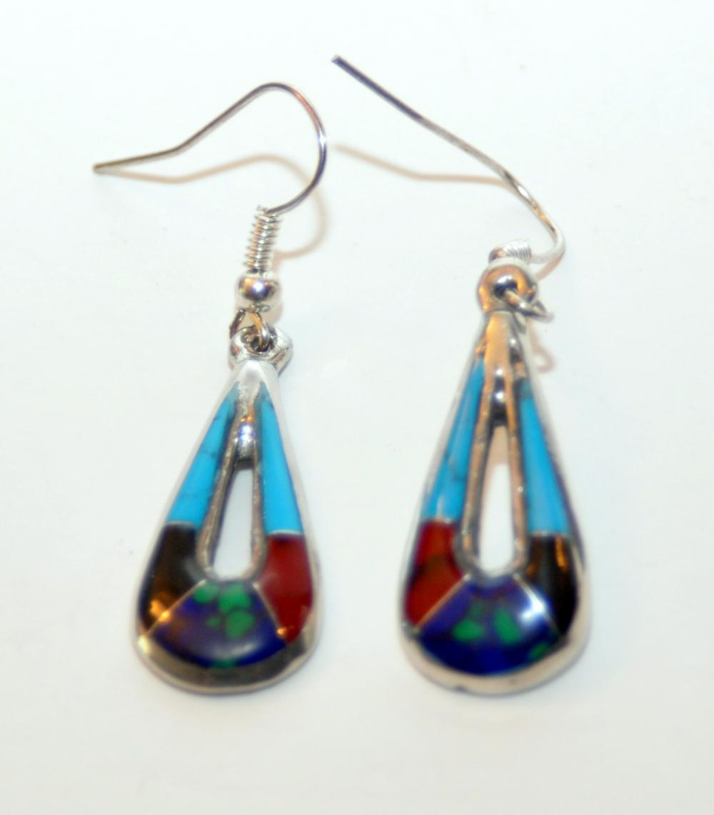 Gemstone inlaid earrings French bails
