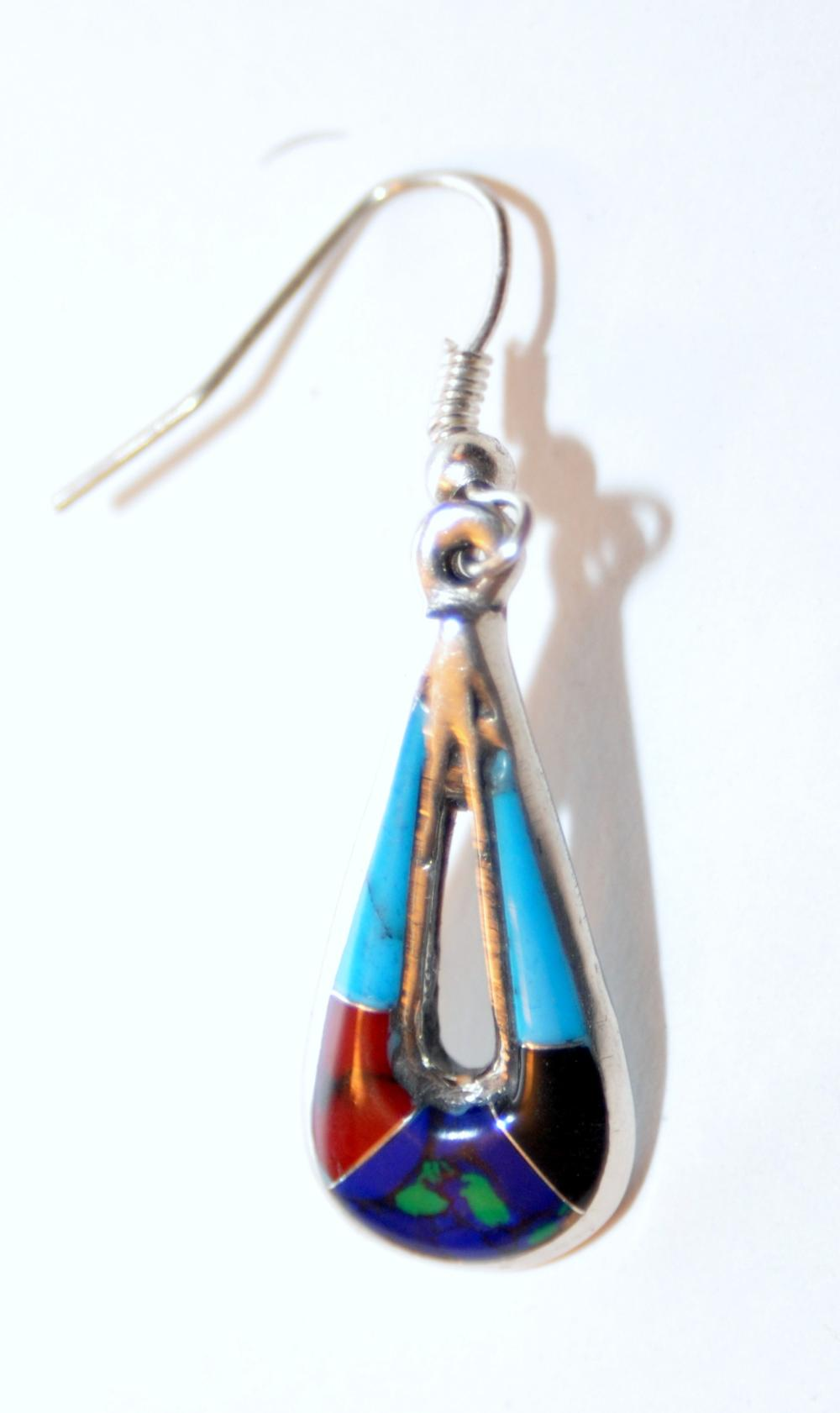 Lot 281: Gemstone inlaid earrings French bails
