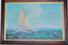 Lot 306: Vintage nautical oil painting