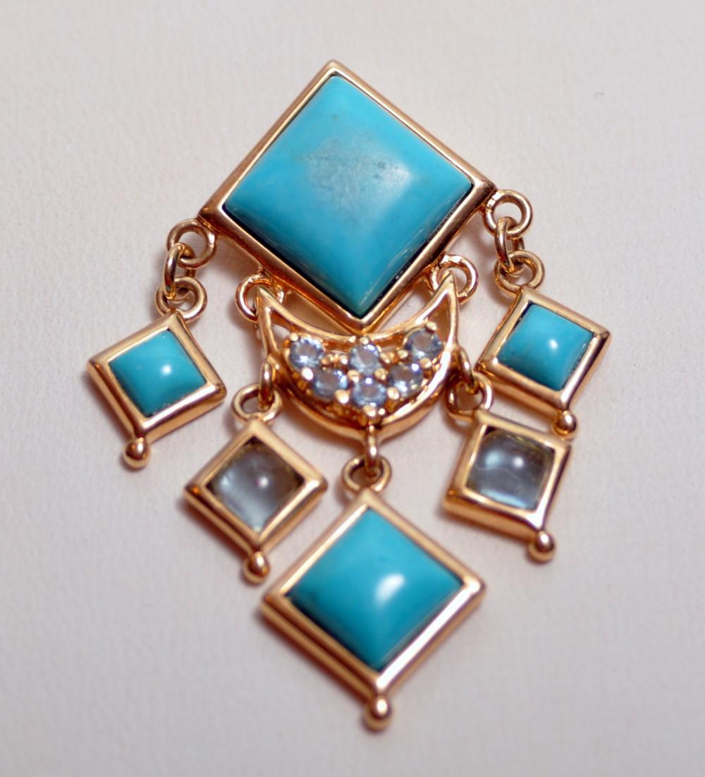 Turquoise pendant gemstone blue topaz